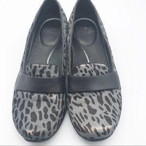 Dansko Black Gray Leopard Calf Hair Ballet Flat 36